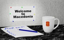Welcome to Macedonia. Big mug and label on the wall with text Welcome to Macedonia. 3D rendering Stock Images