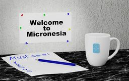 Welcome to Micronesia. Big mug and label on the wall with text Welcome to Micronesia. 3D rendering Stock Images