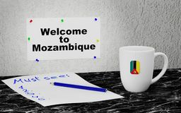 Welcome to Mozambique. Big mug and label on the wall with text Welcome to Mozambique. 3D rendering Royalty Free Stock Image