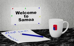 Welcome to Samoa. Big mug and label on the wall with text Welcome to Samoa. 3D rendering Royalty Free Stock Photos