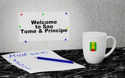 Welcome to Sao Tome and Principe. Big mug and label on the wall with text Welcome to Sao Tome and Principe.3D rendering Stock Images