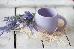 Big mug, lavender, flowers, hay, white, tree, mug with tea, mug with coffee, beautiful day. Purple flowers of lavender in a mug, a bright large mug for coffee, a royalty free stock photo