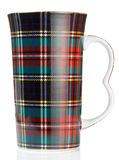 Big mug with tartan scottish style texture Stock Image