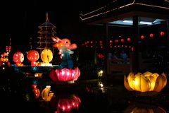 Big  multicolour dragon paper lanterns  floating on water at night. Big  multicolour paper lanterns floating on water Fo Guang Shan Dong Zen Temple, Jenjarom stock photo