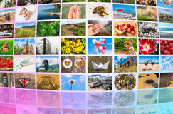 Big multimedia broadcast video wall. Broadcasting and multimedia concept Royalty Free Stock Images