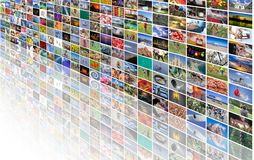 Big multimedia video and image wall. Of the TV screen Stock Photos