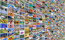 Big multimedia video and image wall. Of the TV screen Royalty Free Stock Photos