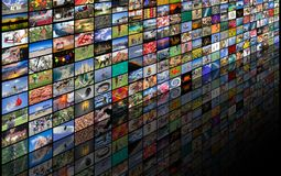 Big multimedia video and image wall. Of the TV screen Royalty Free Stock Photography
