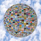 Big Multimedia Video Wall Sphere at tv screens Stock Images
