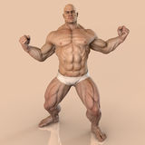 Big muscle man. Muscle man bodybuilder flexing big muscles Royalty Free Stock Photos