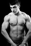 Big muscular sexy young bodybuilder Royalty Free Stock Photography