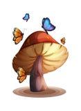 A big mushroom with butterflies Stock Photo
