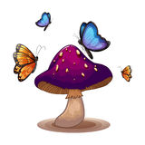 A big mushroom with butterflies Stock Image