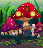 A big mushroom house with a blue curtain Royalty Free Stock Image