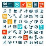 Big music icons set Royalty Free Stock Images