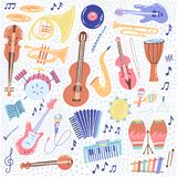 Big Music set musical instrument and symbols icons collections. Cartoon sound concept elements. Music notes with Piano, Guitar,