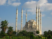 Big muslim mosque with high minarets in the city of Adana, Turkey Royalty Free Stock Photos