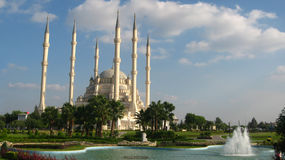 Big muslim mosque with high minarets in the city of Adana, Turkey Stock Images