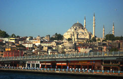 Big muslim mosque with high minarets in the city of Istanbul, Turkey Stock Photo