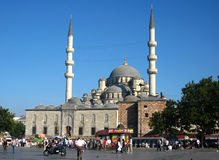 Big muslim mosque with high minarets in the city of Istanbul, Turkey Stock Photos