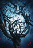 Big mystic tree with thorns at night Stock Photos