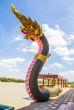 The Big Naga snake guarding Thai temple Stock Images