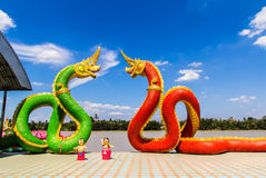 The Big Naga snake guarding Thai temple Royalty Free Stock Images