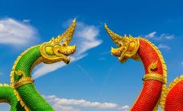 The Big Naga snake guarding Thai temple Stock Photos