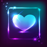 Big neon blue heart on dark background with shining frame. Vector illustration Stock Photo