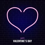 Big neon hearth. A large neon heart of two halves with the inscription of a happy Valentine`s Day Royalty Free Stock Photos