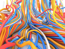 Big network. Many wire and cable in vinyl environment. Technology illustration Stock Images