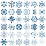 Big new collection blue snowflakes Royalty Free Stock Photos