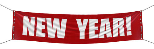 Big New year Banner. Image with clipping path Stock Photo