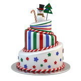 Big New Year Cake. Isolated on white Royalty Free Stock Photos