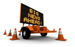 Big news ahead traffic sign. Electronic traffic sign surrounded by safety cones with the message, Big News Ahead Royalty Free Stock Photos