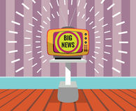 Big news -  drawing of a TV SET with big news screen. Vector resizable drawing of Big news displayed by a retro television. TV Set, typo, shining and background Royalty Free Stock Images