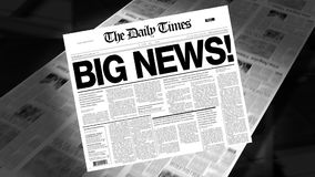 Big News! - Newspaper Headline (Intro + Loops). Newspapers coming off the press. Cover page spins on. First 1 second is a blank loop. Then the newspaper spins on stock footage