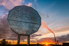 Big Nickel landmark in Sudbury, Ontario. Canada during sunset royalty free stock photos