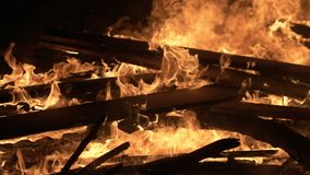 Big night fire, burning boards. Fire, burn out the house, short circuit danger stock video footage