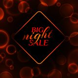 Big night sale banner on a black background with luminous circles vector illustration vector illustration