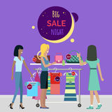 Big Night Sale in Fashionable Boutique. Vector Stock Photos