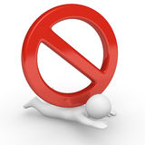 Big no sign pressing small 3d human. 3d render Royalty Free Stock Images