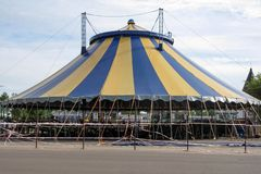 Big noname circus tent under a cloudy sky royalty free stock photography