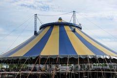 Big noname circus tent under a cloudy sky stock photos