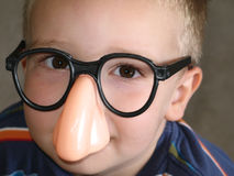 Big Nose Glasses on Little Boy. Funny picture of big nose glasses on a little boy Stock Photo