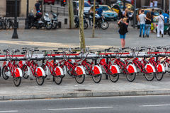 The big number of City Bicycles on a parking Royalty Free Stock Image