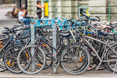 The big number of City Bicycles on a parking Royalty Free Stock Photography