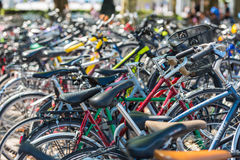 The big number of City Bicycles on a parking Stock Image