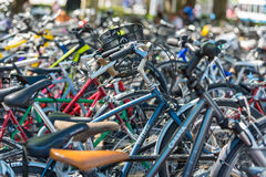 The big number of City Bicycles on a parking Stock Photo