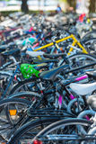 The big number of City Bicycles on a parking Royalty Free Stock Photos